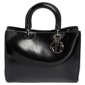 Dior Black Shine Leather Large Lady Dior Tote