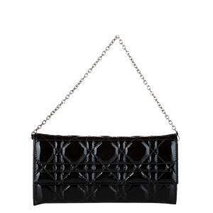 Dior Black Patent Leather Cannage Chain Flap Bag