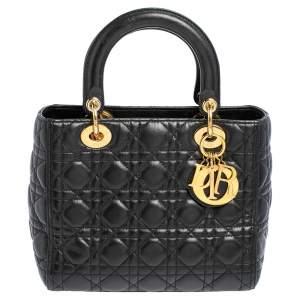 Dior Black Cannage Leather Medium Lady Dior Tote