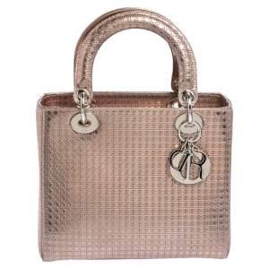 Dior Metallic Rose Gold Micro Cannage Leather Medium Lady Dior Tote