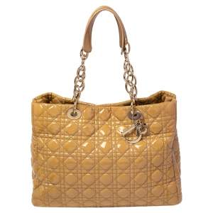 Dior Beige Cannage Quilted Patent Leather Large Shopper Tote