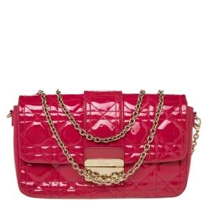 Dior Pink Cannage Patent Leather Miss Dior Promenade Chain Pouch Bag