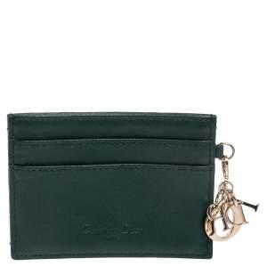 Dior Dark Green Cannage Leather Lady Dior Card Holder