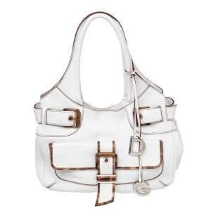 Dolce & Gabbana White Leather Buckle Hobo