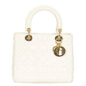 Dior White Cannage Leather Lady Dior Tote Bag