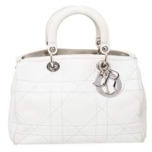 Dior White Leather Granville Polochon Bag