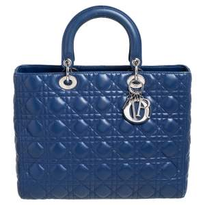 Dior Blue Cannage Leather Large Lady Dior Tote