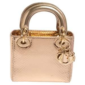 حقيبة يد توتس ديور ميني ليدي ديور جلد ثعبان ذهبي ميتاليك