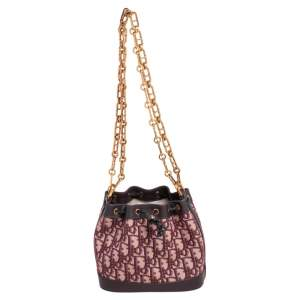 Dior Burgundy Oblique Canvas and Leather Drawstring Chain Bucket Bag
