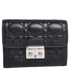 Dior Black Cannage Leather Miss Dior Wallet