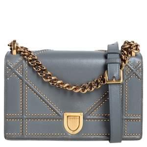 حقيبة كتف ديور ديوراما جلد أزرق صغيرة