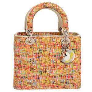 Dior Multicolor Embroidered Fabric Medium Limited Edition Lady Dior Tote