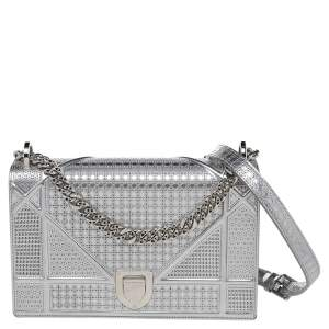 Dior Metallic Silver Micro Cannage Leather Medium Diorama Shoulder Bag