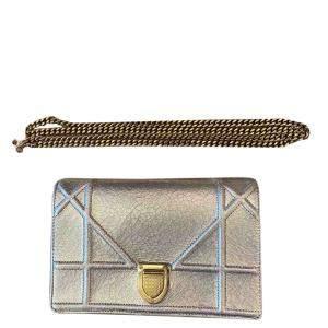 Dior Silver Leather Diorama Shoulder Bag