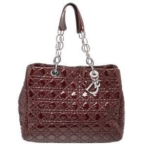 Dior Red Cannage Quilted Patent Leather Soft Large Shopper Tote