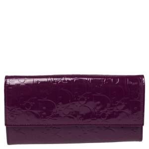 Dior Purple Diorissimo Embossed Patent Leather Lady Dior Wallet
