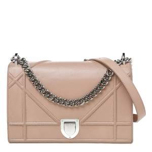Dior Beige Leather Medium Diorama Shoulder Bag