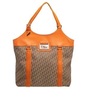Dior Beige/Orange Diorissimo Canvas and Leather Shoulder Bag