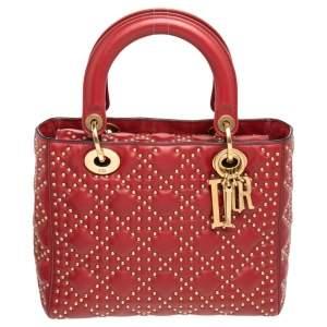 حقيبة يد توتس ديور سابل ليدي ديور جلد أحمر داكن مرصعة متوسطة