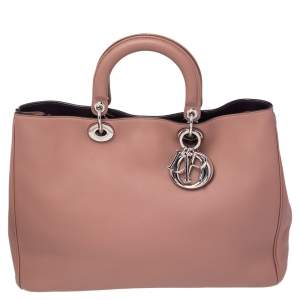 Dior Dusty Pink Leather Large Diorissimo Shopper Tote