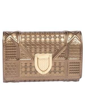 Dior Metallic Gold Micro Cannage Leather Diorama Trifold Wallet