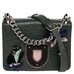 حقيبة كتف ديور ديوراما كلاب جلد مزخرف أخضر