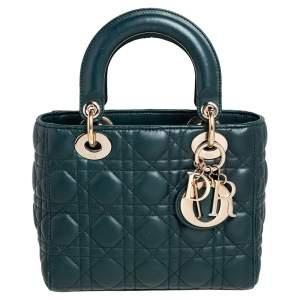 حقيبة يد توتس ديور ماي ليدي ديور جلد كاناج أخضر صغيرة
