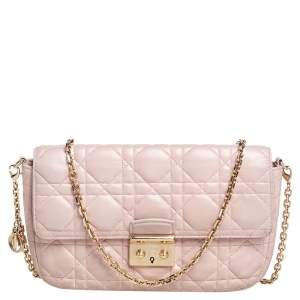 Dior Pale Pink Cannage Leather Miss Dior Promenade Chain Clutch