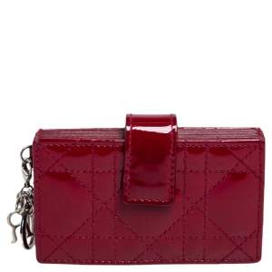 Dior Red Cannage Patent Leather Lady Dior Gusset Card Case