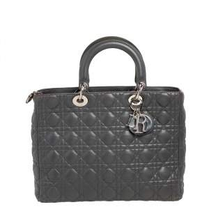 Dior Grey Cannage Leather Large Lady Dior Tote