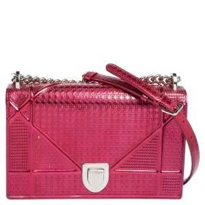 Dior Metallic Pink Micro Cannage Leather Medium Diorama Shoulder Bag