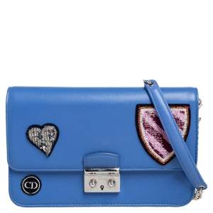 حقيبة كلتش ديور سلسلة بروميد ميس ديور هارت بادغز كبيرة جلد أزرق