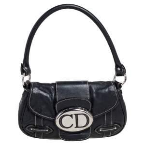 Dior Black Leather CD Logo Shoulder Bag
