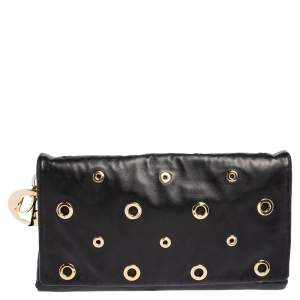 Dior Black Leather Grommet Flap Clutch