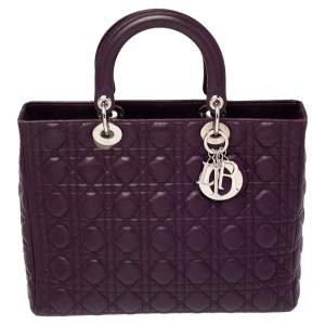 Dior Purple Cannage Leather Large Lady Dior Tote