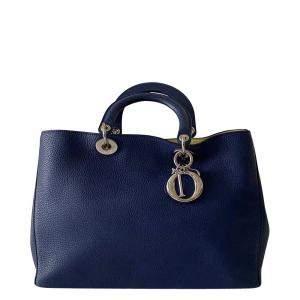 Dior Blue Leather Large Diorissimo Tote Bag