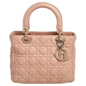 Dior Beige Cannage Leather Medium Lady Dior Tote