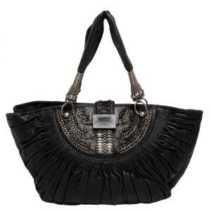 Dior Black Pleated Leather Plisse Tote