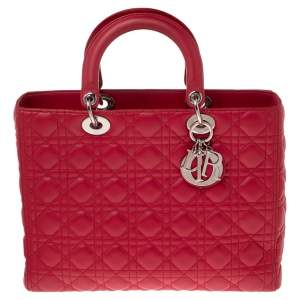 Dior Hot Pink Cannage Leather Large Lady Dior Tote