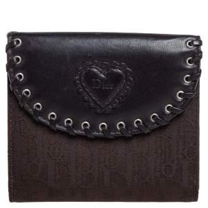 Dior Dark Brown Oblique Canvas and Leather Compact Wallet