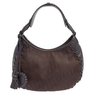 Dior Dark Brown Oblique Nylon and Leather Ethnic Hobo