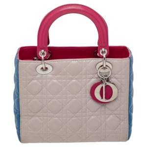 Dior Multicolor Cannage Quilted Leather Lady Dior Tote