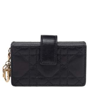 Dior Black Cannage Leather Lady Dior 5-Gusset Card Holder