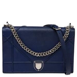 Dior Electric Blue Leather Large Diorama Flap Shoulder Bag