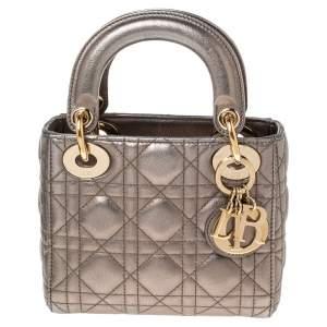 Dior Metllic Leather Mini Lady Dior Tote