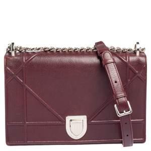 Dior Burgundy Leather Medium Diorama Flap Shoulder Bag