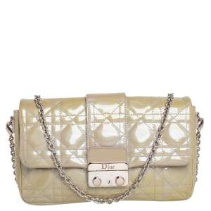 Dior Grey Cannage Patent Leather Miss Dior Promenade Pouch Bag