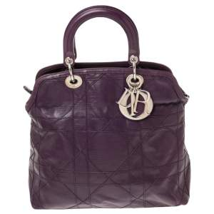 Dior Purple Cannage Leather Granville Tote