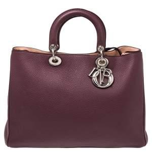 Dior Burgundy Leather Large Diorissimo Shopper Tote