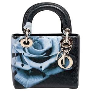 حقيبة يد ديور ليدي ديور ميني جلد طباعة زهور كحلي